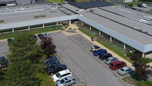 Drone shot of United Radio's Syracuse Campus