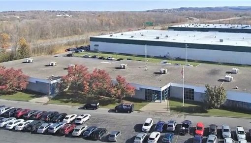 Drone shote of United Radio's Automotive Division, Syracuse